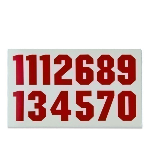 Helmet Number Decals - Red Thumbnail